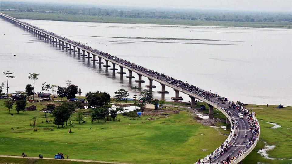 An aerial view of the newly inaugurated Dhola-Sadia bridge across River Brahmaputra in Assam.