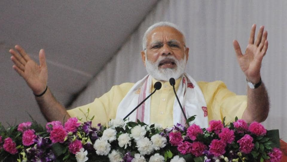 Prime Minister Narendra Modi addresses a public meeting to mark the third anniversary of NDA government on May 26.