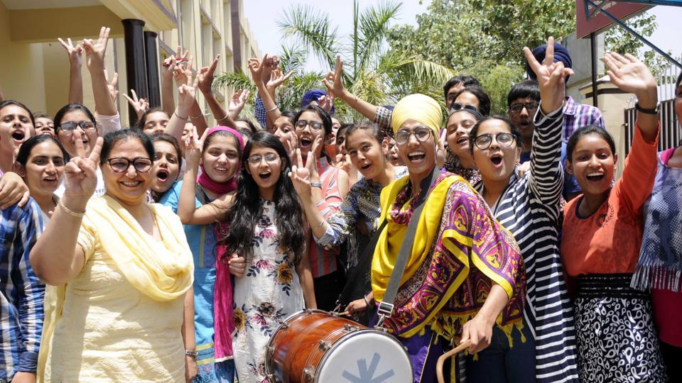Students of Guru Nanak Foundation School in Patiala in celebration mood after CBSE Class 12 results were declared  on Sunday. (Bharat Bhushan /HT)
