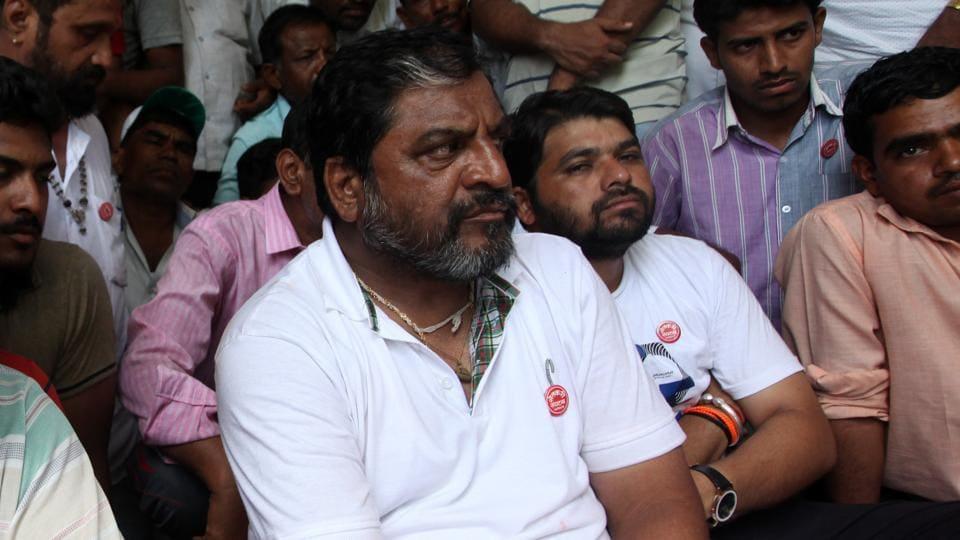 Swabhimani Paksha MP Raju Shetti in Navi Mumbai on Sunday.