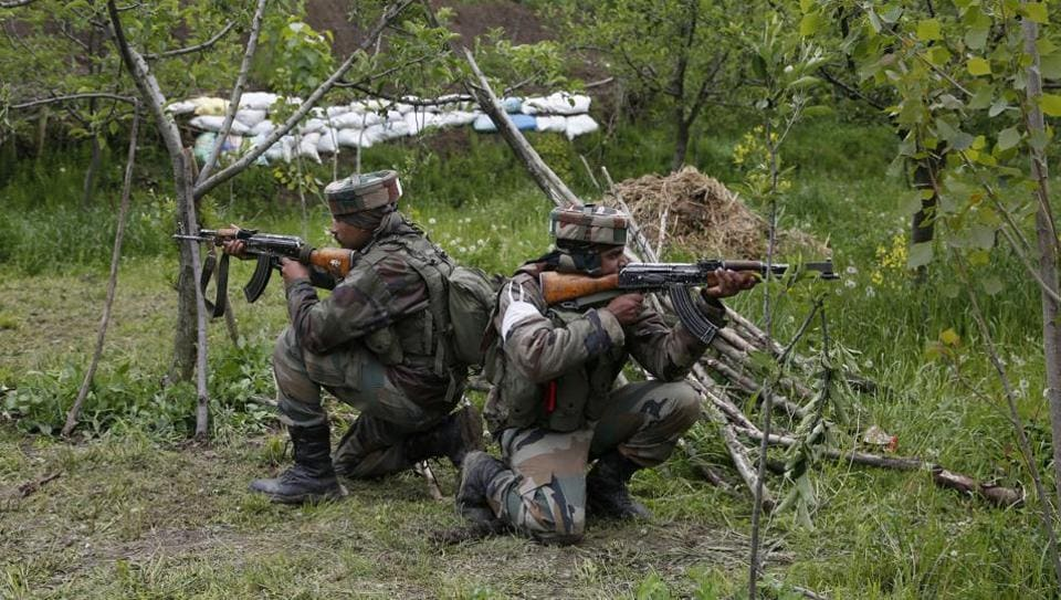 An intruder was shot dead in Poonch district of Jammu and Kashmir on Sunday.