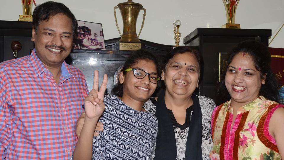 Ludhiana district topper Deeba Goyal celebrating her success in the CBSEClass 12 results in Ludhiana on Sunday.