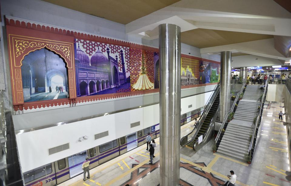 The theme of the Jama Masjid station, which will open for public use on May 28, is historical and the look has been accentuated with metal work and stone cladding. (Mohd Zakir/HT PHOTO)