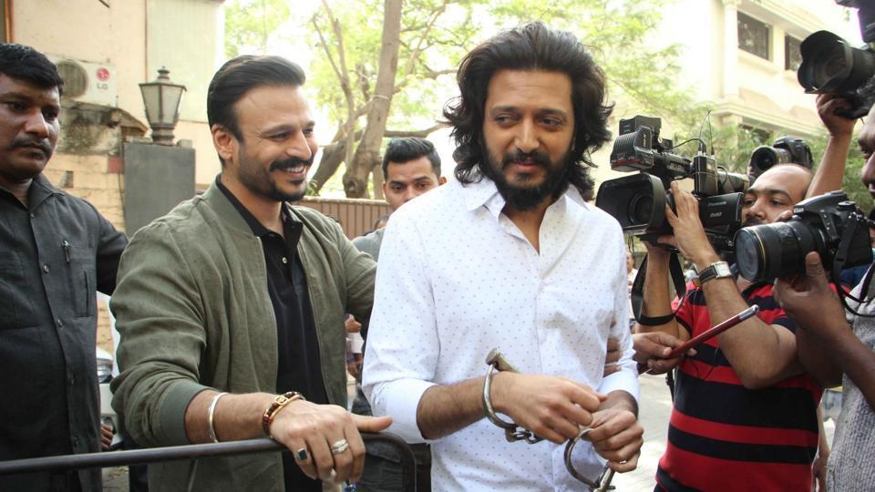 Vivek Oberoi and Riteish Deshmukh during the promotion of film Bank Chor in Mumbai on April 7, 2017.