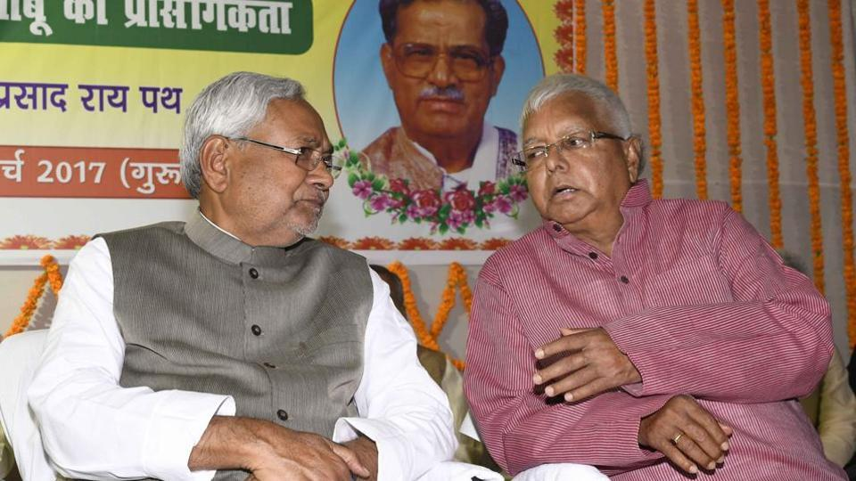 Chief minister Nitish Kumar sharing stage with RJD chief Lalu Prasad at a function in Patna.