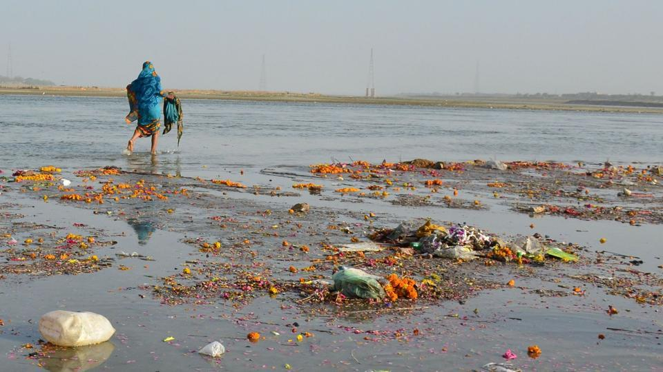 A view of garbage dumped into the Ganga.