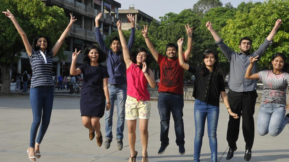 (From left) Mehar Virk (overall 3rd in tricity), Pragati Sharma (6th), Sanat Goel (3rd), Neha Goyal (4th), Saurabh Gupta (3rd), Tanya Goyal (5th), Prabhmaan Singh Thapar (6th) and Prachi Jaiswal (5th) celebrating their success at Sector 17 in Chandigarh on Sunday.
