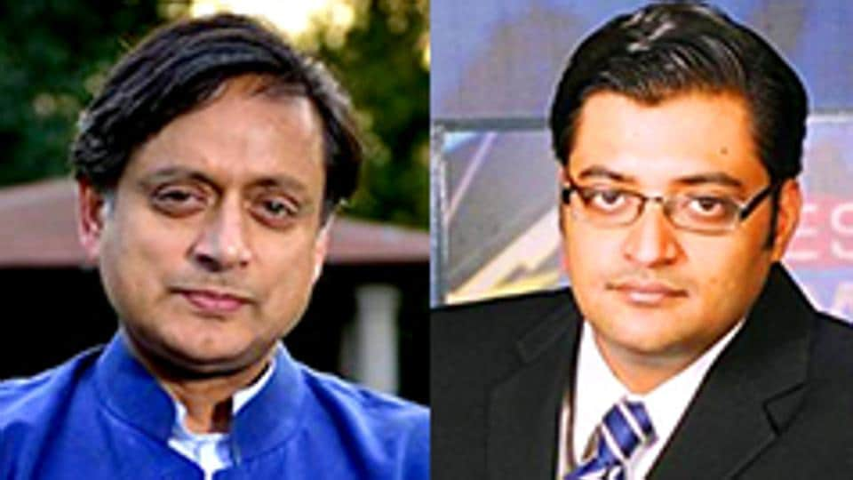 A combination of photos of Congress MP Shashi Tharoor and journalist Arnab Goswami.