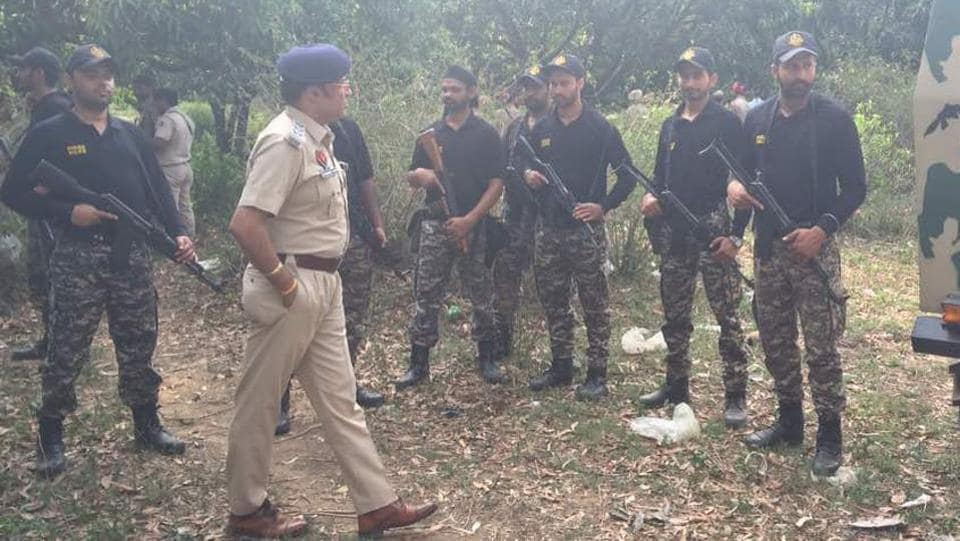 Instructions being given to a SWAT team before a search operation near Pathankot on Monday.