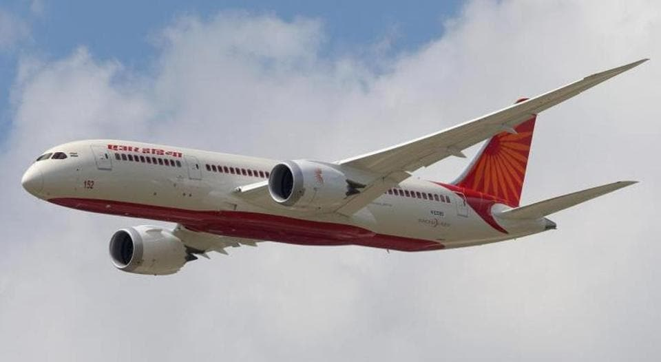 An Air India Airlines Boeing 787 dreamliner.