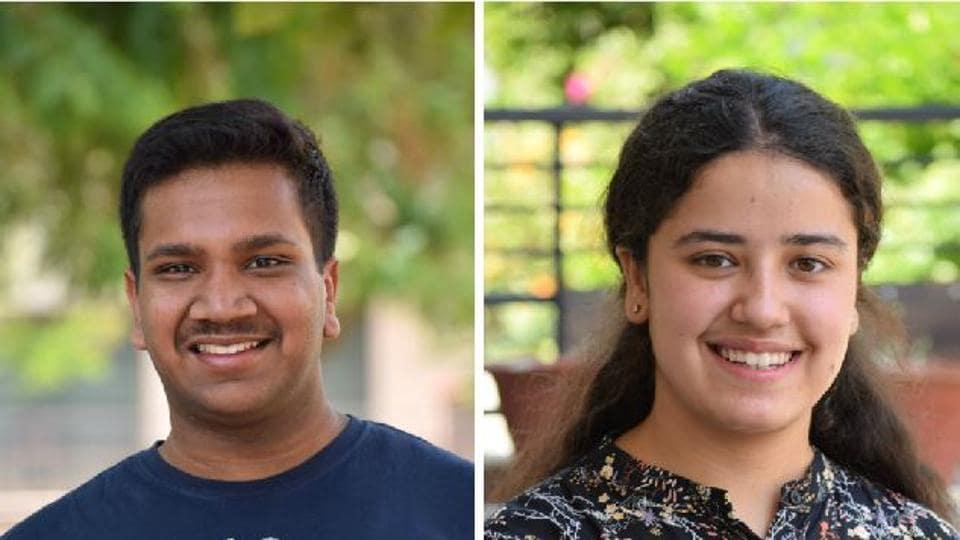Bhavan Vidyalaya students Aditya Jain and (right) MannatLuthra secured all-India third rank in CBSE Class 12 results with 99.2%.