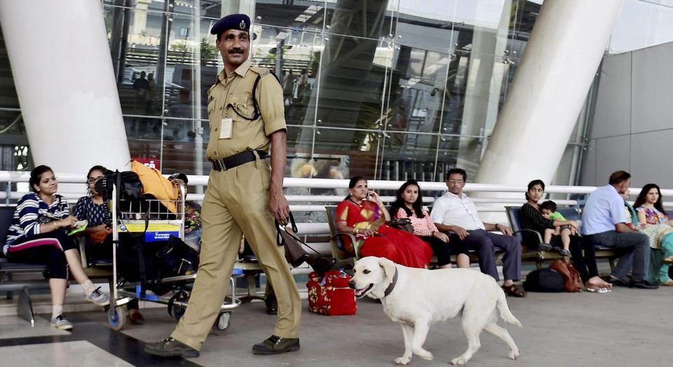 File photo of a CISF man with sniffer dog at the Chennai International Airport. Chennai is among the six airports where passengers will not need to have their hand baggage tags  stamped from June 1.
