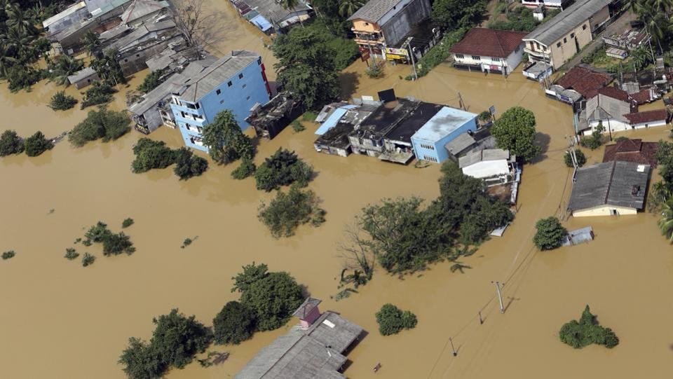 In this photo taken on Saturday, May 27, 2017, shows an aerial view of inundated area of Kiriella, in Ratnapura district of Sri Lanka. (Rukmal Gamage/AP)