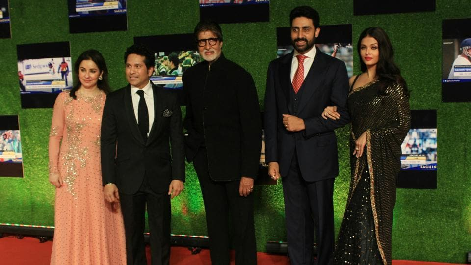 Sachin and Anjali Tendulkar along with Amitabh Bachchan, Abhishek Bachchan and Aishwarya Rai Bachchan during the premier of Sachin: A Billion Dreams in Mumbai on May 24, 2017. (Photo: Prodip Guha/ Hindustan Times)