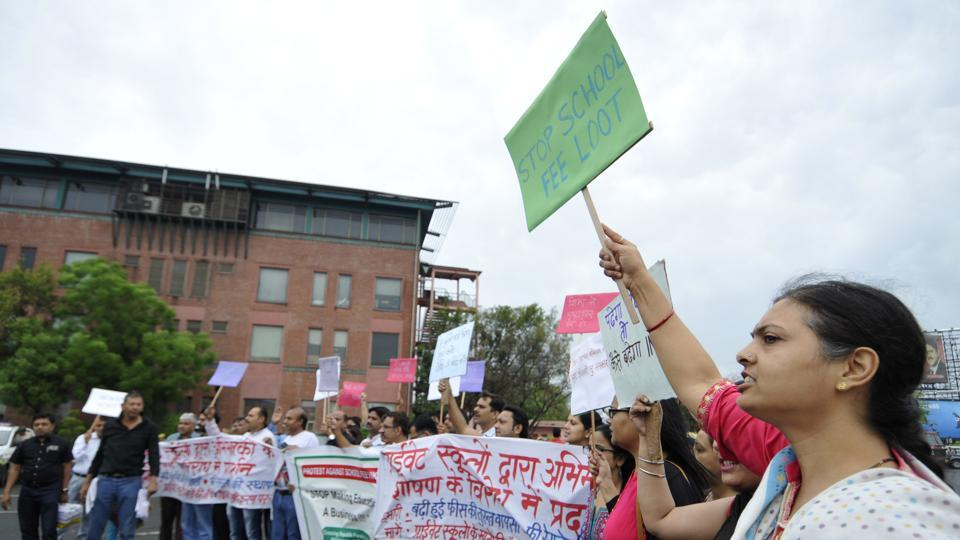 Parents have been demanding a cap on fee hike by private schools for the past three months in Noida and other cities.