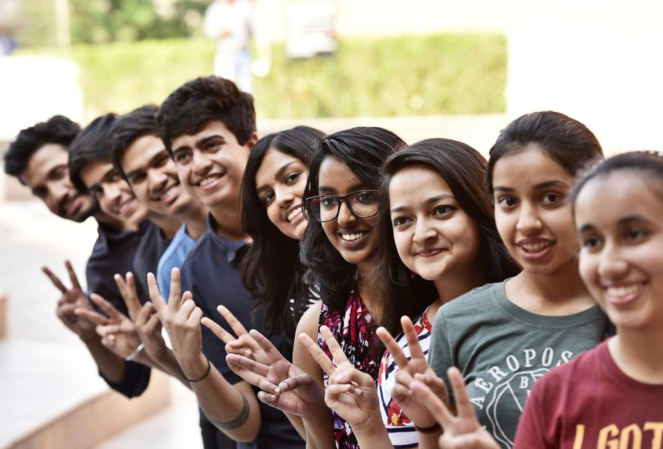 Students of Scottish High School, Sector-55, celebrate their ICSE results on Monday.