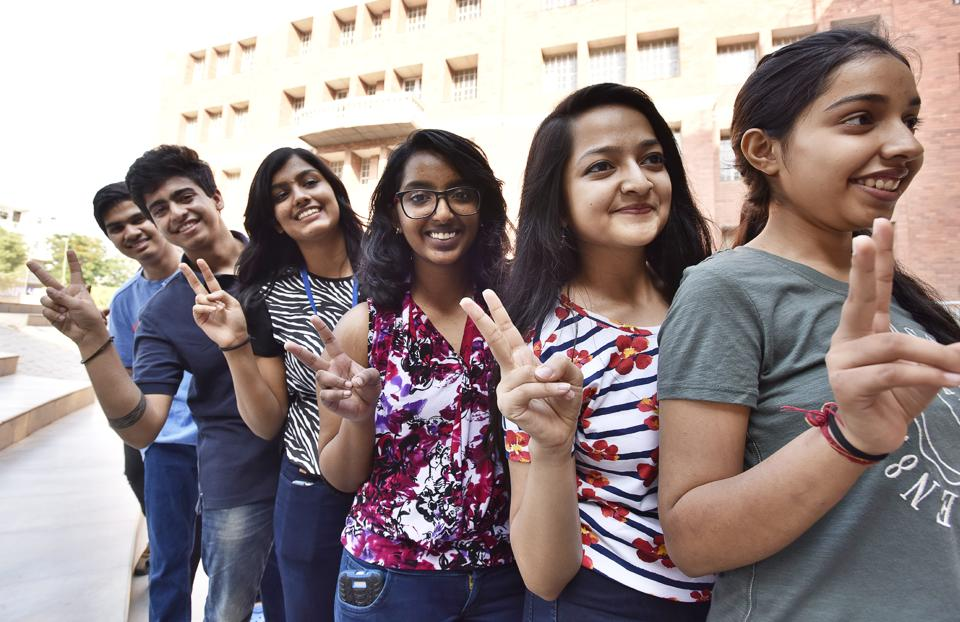Gurgaon, India - May 29, 2017: Students have fun after the ICSE class XII results declared at Scottish High School, Sector-55, in Gurgaon, India, on Monday, May 29, 2017. (Photo by Sanjeev Verma/ Hindustan Times)