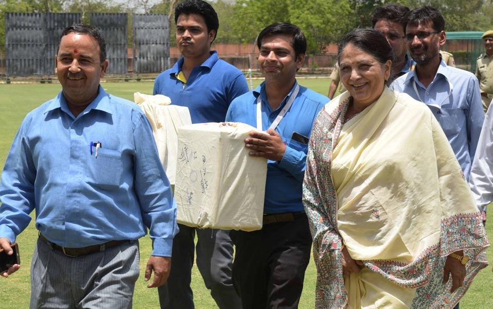 Justice Gyansudha Mishra , the ombudsman appointed for the RCAelections, with ballot boxes in Jaipur on Monday.
