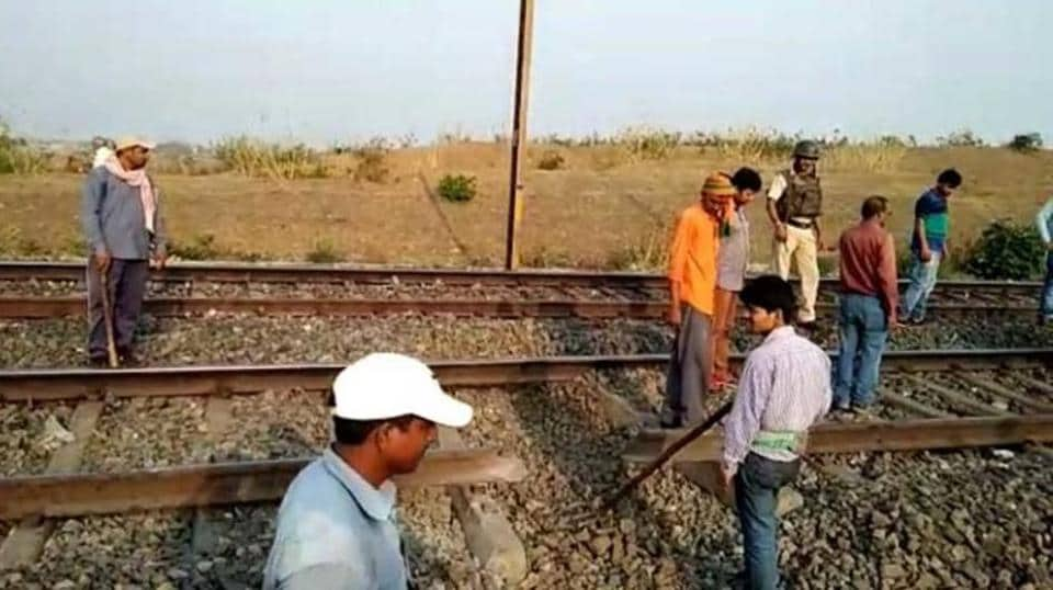 Railway personnel repairing the track near Karmabad station in Jharkhand on Monday morning.