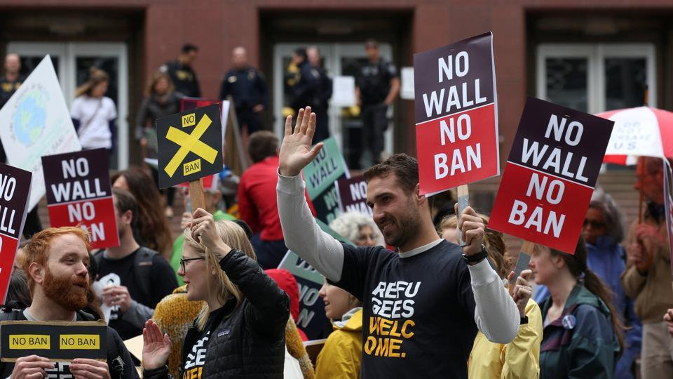 People protest US President Donald Trump's travel ban outside of the US Court of Appeals in Seattle, Washington on May 15.