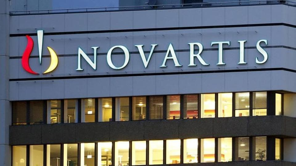 he logo of Swiss drugmaker Novartis is seen at its headquarters in Basel, Switzerland.