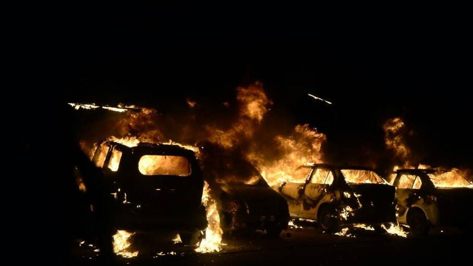 Four vehicles were set on fire in the violence near Peer Gate area in Old Bhopal on Tuesday night.