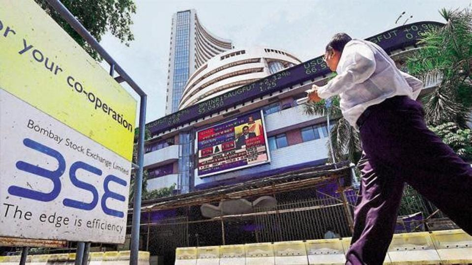 A man walks past the BSE building in Mumbai.