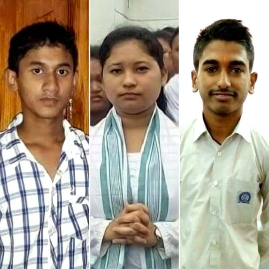 Toppers in the Assam HSClass 12 result: (from left) Rajababu Saikia (science); Alka Das (arts) and Prashant Goel (commerce).