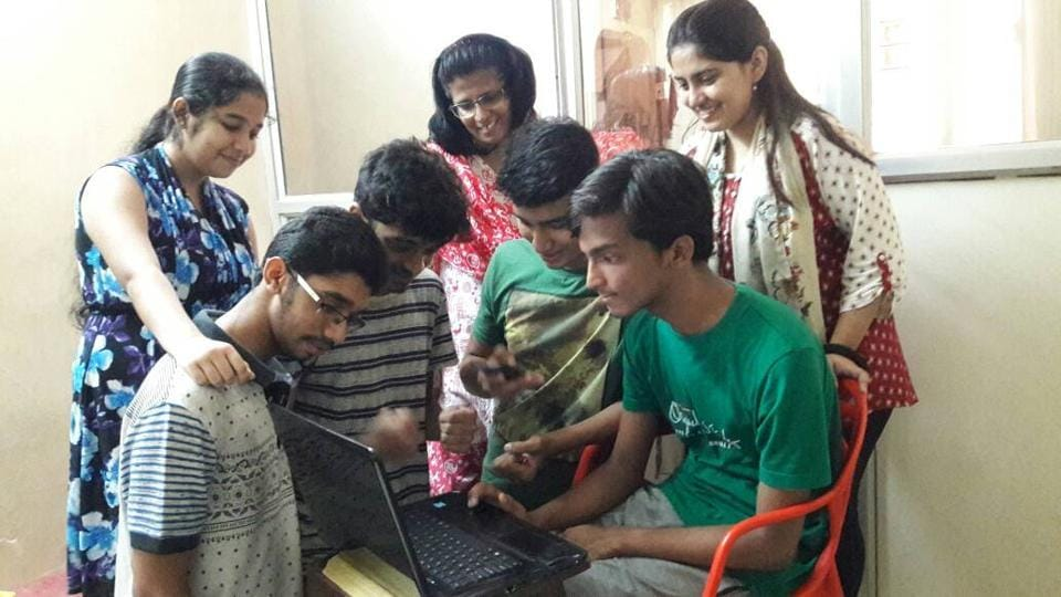 Students check their results in Mumbai on Tuesday.