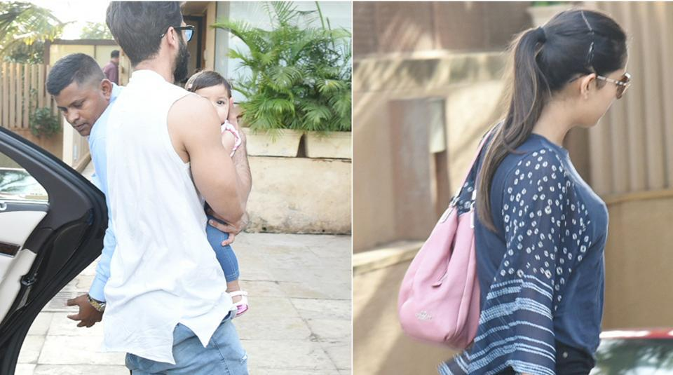Actor Shahid Kapoor's daughter Misha seemed comfortable with the photographers.