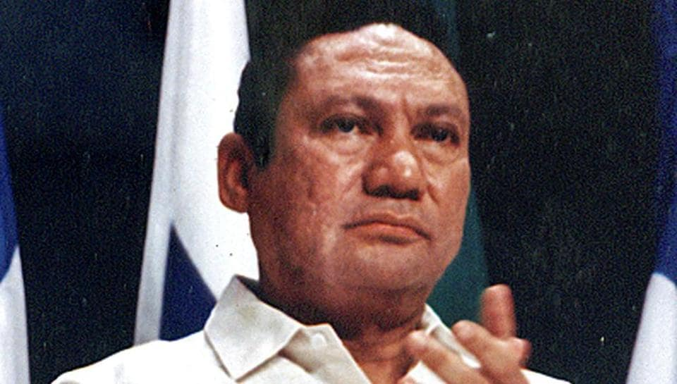 Manuel Noriega at a news conference in Panama City in 1989.