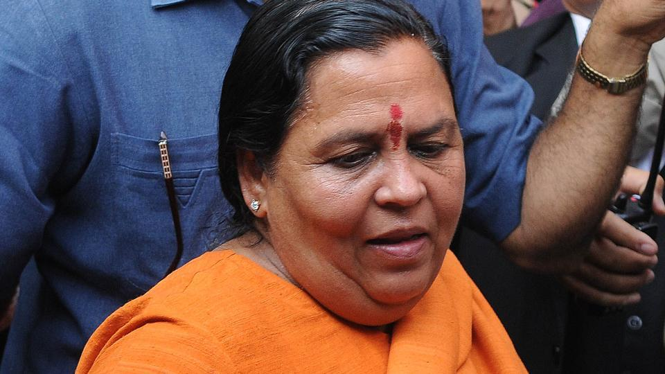 BJP leader Uma Bharti after getting bail in Babri demolition case at a CBI court in Lucknow on Tuesday.