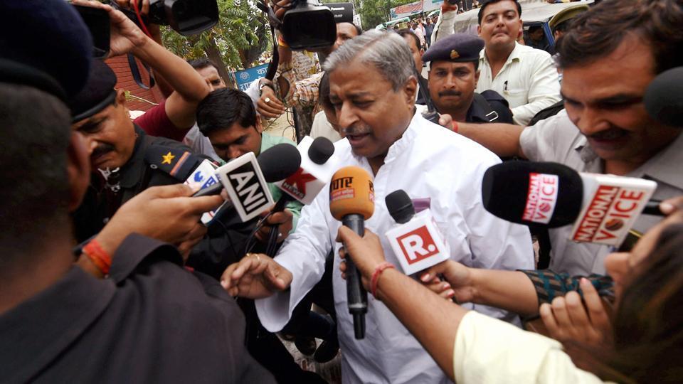 BJP leader Vinay Katiyar, one of the accused in the Babri Masjid demolition case, arrives for a hearing at Special CBI court in Lucknow on Tuesday.