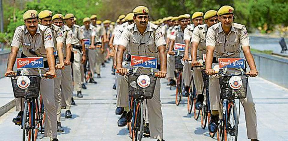 Bicycle Patrols at the Yamuna Sports Complex in New Delhi on Tuesday.