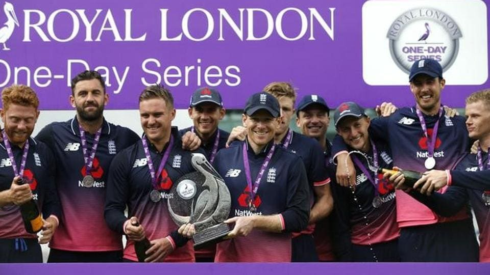 England cricket team captain Eoin Morgan and players celebrate with the trophy, after beating South Africa cricket team 2-1 in the three-match ODIseries which acted as a warm-up for both the sides ahead of the ICCChampions Trophy 2017.