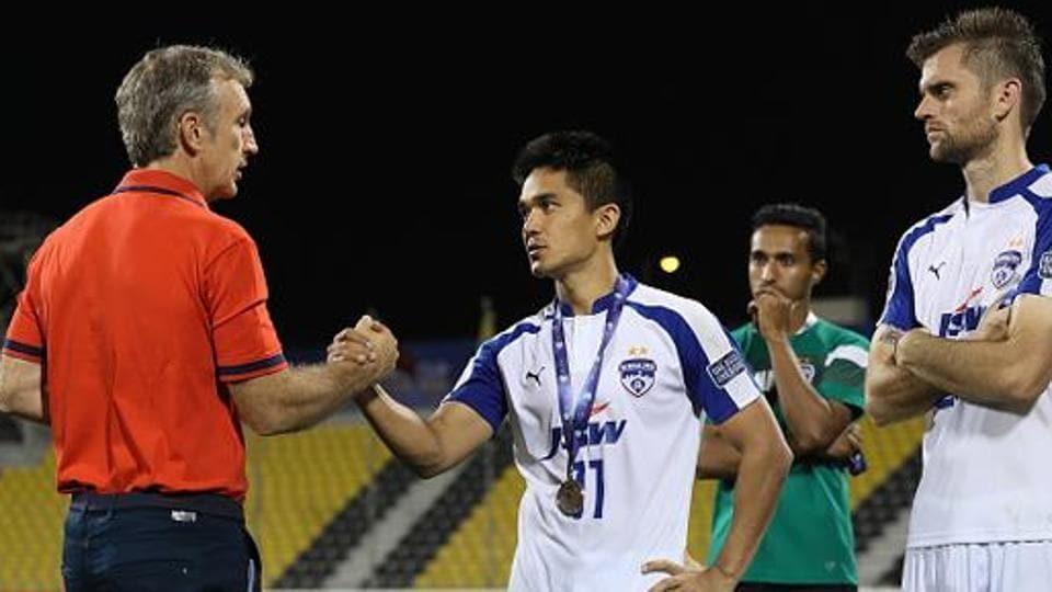 Sunil Chhetri (right) is Albert Roca-coached Bengaluru FC's main forward.