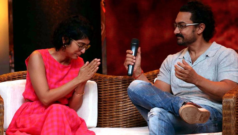 Aamir Khan and his wife Kiran Rao Khan take part in the television chat show Dangal Dangal Baat Chali Hai in Mumbai on May 20, 2017.