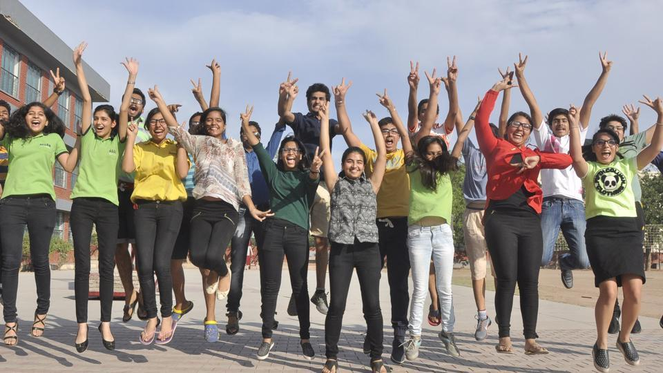 Students in jubilant mood after ICSE board results at Little flower convent school in Panchkula on Monday.