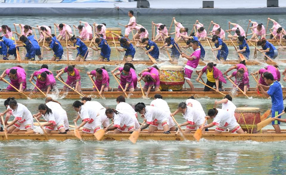 Dragon Boat Festival is now known best internationally for the dragon boat races, which are essentially a more extravagant version of rowing.  (REUTERS)