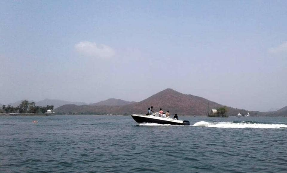 A speed boat at Lake Fateh Sagar in Udaipur.  A 3-year-old girl fell into the lake after two boats collided.