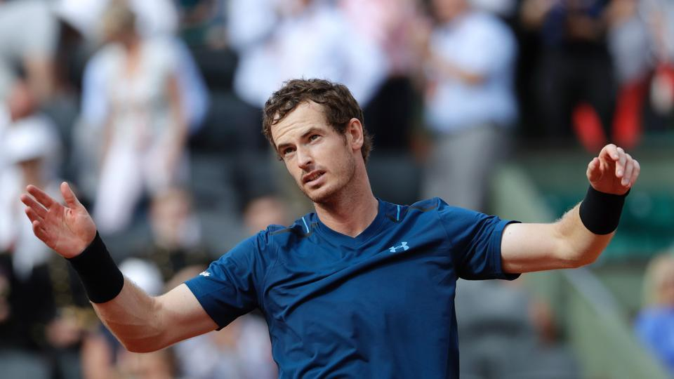 Britain's Andy Murray reacts after defeating Russia's Andrey Kuznetsov 6-4, 4-6, 6-2, 6-0 in a first round match of the 2017 French Open. (AFP)