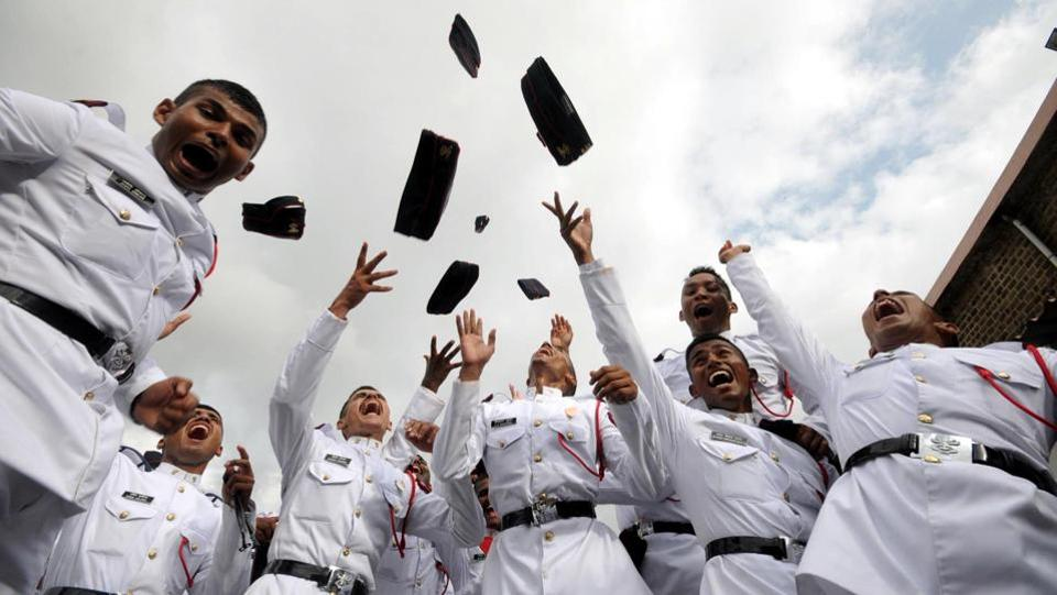 Cadets of the 132nd course celebrate their graduation at the passing out parade  in Pune. (HTPhotos)