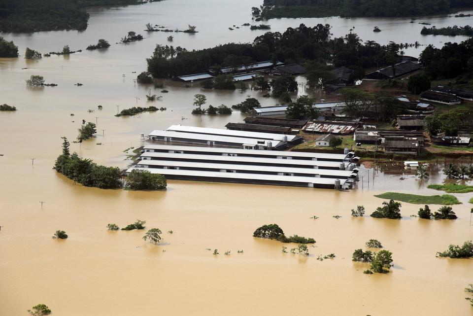 A flooded factory in Matara, Sri Lanka on Monday.