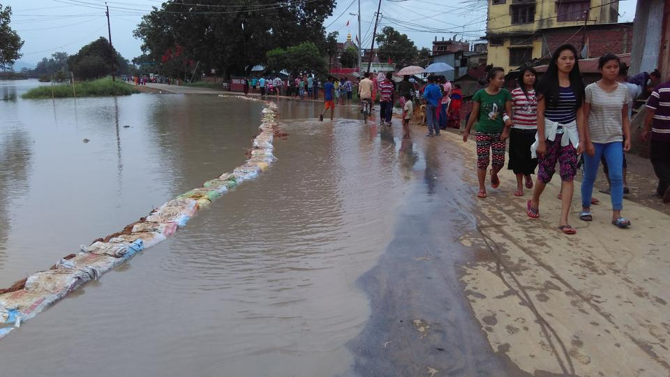 A flooded part of  Wangkhei area in Imphal after heavy rain since Tuesday.