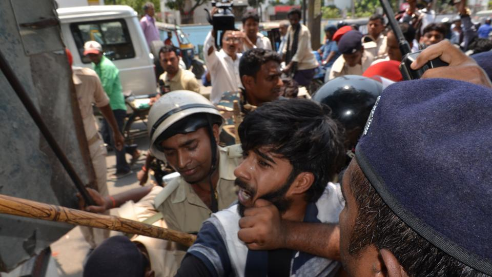Police in Patna try to control student protesters demanding re-evaluation of answer books following high failure rates in the Bihar Board examination.