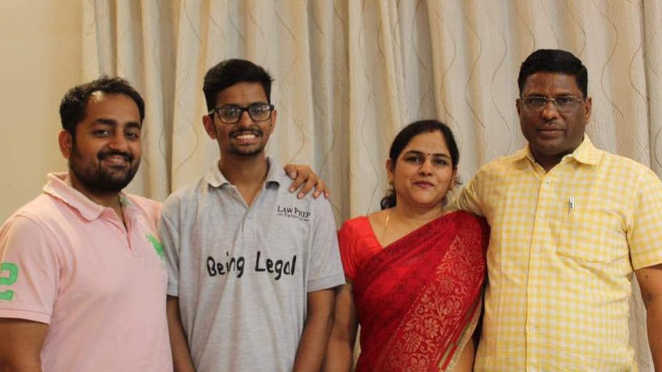 Though he secured 74.8% marks in the Class 12 Boards, Rajat Maloo (second from left, with his family) had faith in himself and studied hard to ace India's tough law college entrance exam.