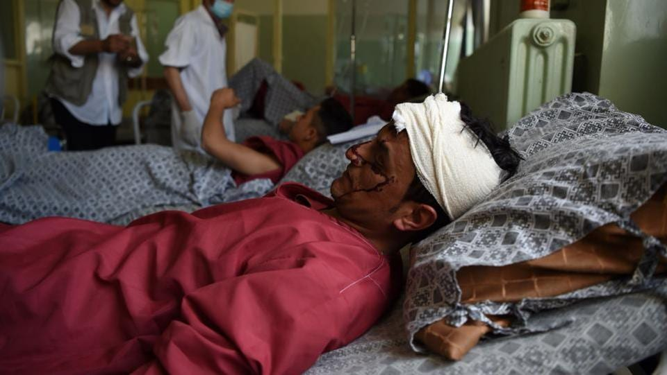 Injured treated at a hospital in Kabul. (AFP)
