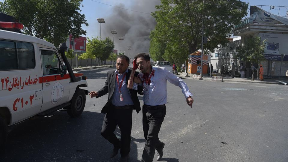 The Islamic State group has also claimed responsibility for several recent bombings in the Afghan capital, including a powerful blast targeting an armoured NATO convoy that killed at least eight people and wounded 28 on May 3. (SHAH MARAI / AFP)