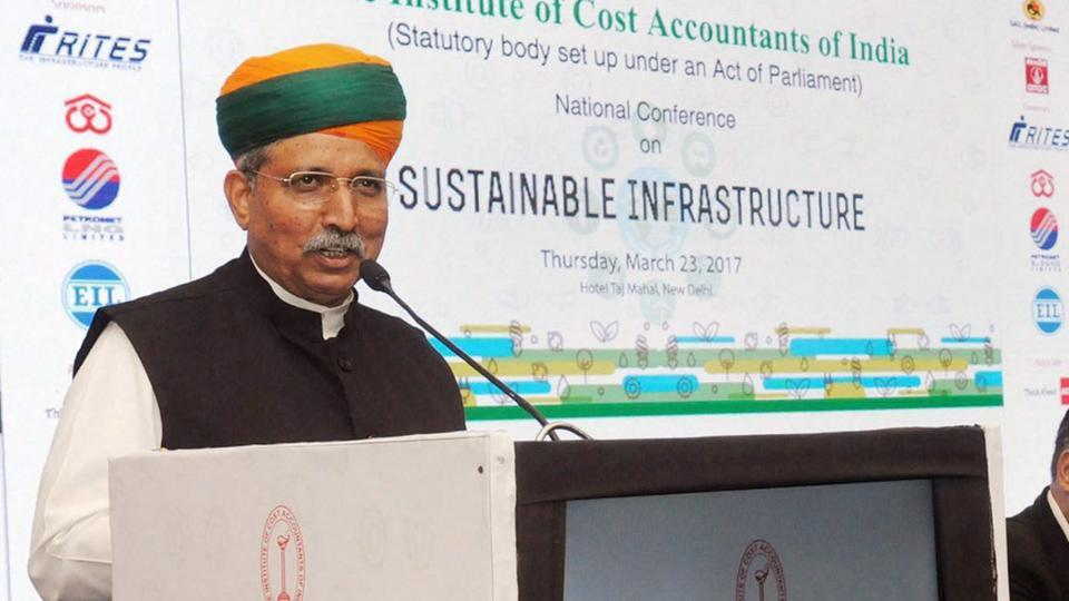 MoS finance Arjun Ram Meghwal during a press conference in New Delhi.