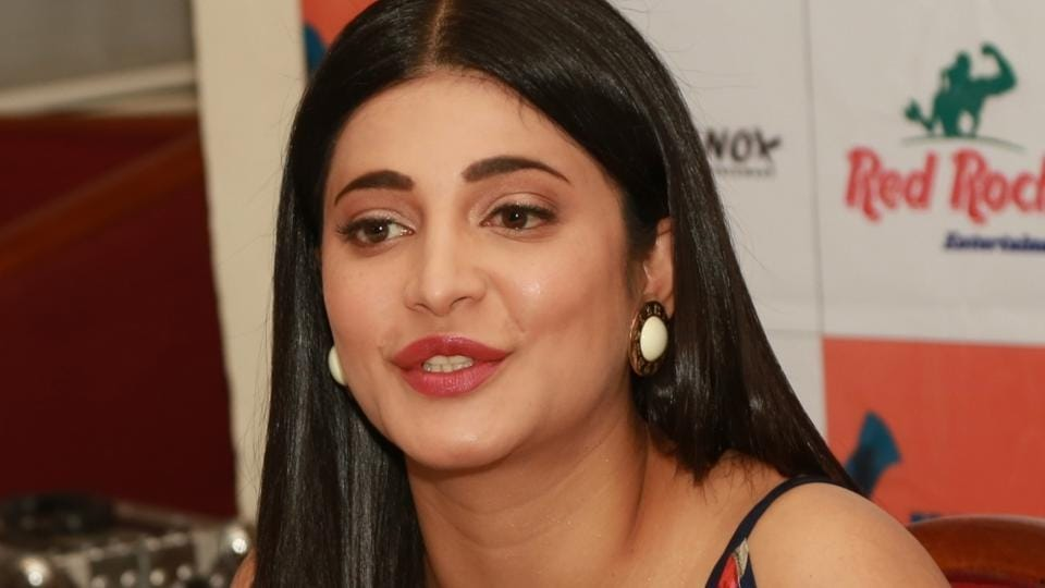 Shruti Haasan during a press conference to promote her upcoming film Behen Hogi Teri in New Delhi.